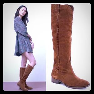 New Frye Cara Suede Boots Tall